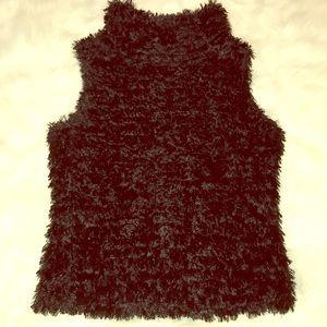 Bebe black faux fur sleeveless roll neck top SZ-S